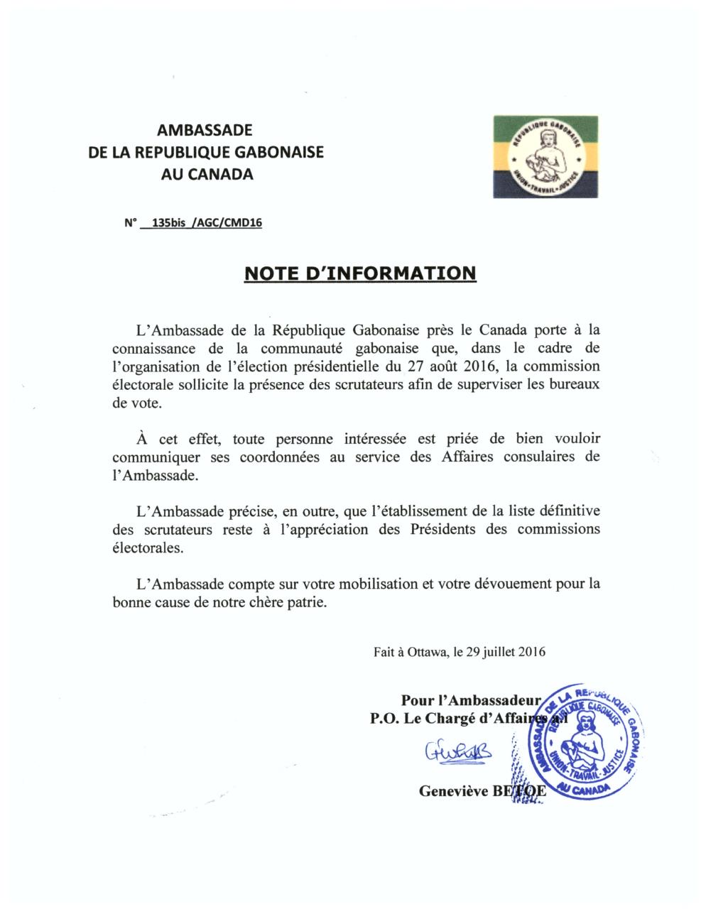 Communauté Gabonaise du Canada, relative à la présence de Scrutateurs afin de superviser les bureaux de vote.
